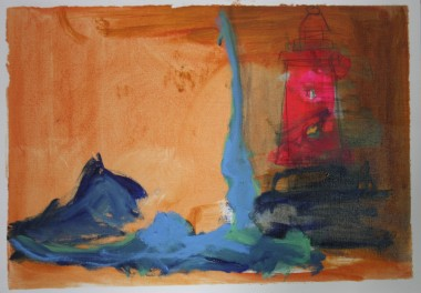 'Gnome world' 2014 A2 Oil paint, acrylic paint and pencil on paper