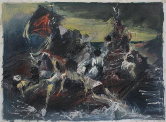 'Medusa 5' Oil paint on paper