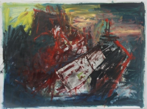 'Medusa 6' Oil paint, newspaper and charcoal on paper
