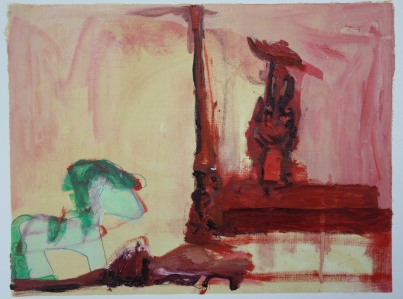 'He was like that when i got here, honest' 2013 A2 Oil paint, acrylic paint and pencil on paper SOLD