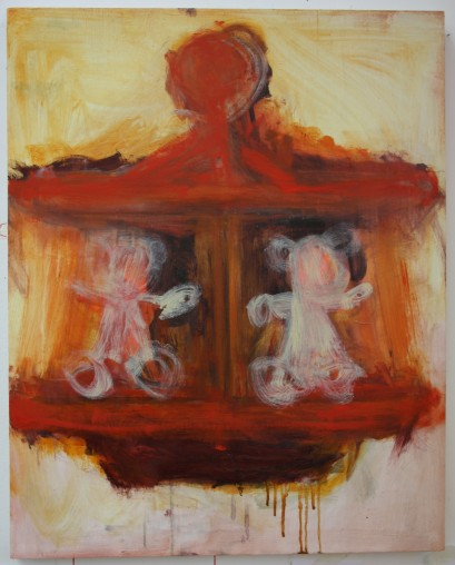 'Ted and Tess Carousel' 76cm x 61cm Oil paint and acrylic paint on board