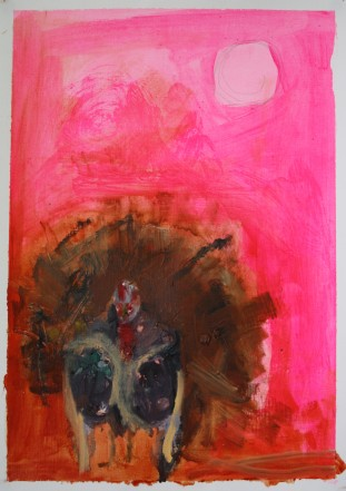 'Wereturkey' 2014 A2 Oil paint, acrylic paint and pencil on paper SOLD
