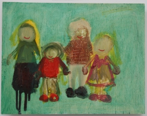 'Family portrait' 2014 23.5cm x 30cm Oil paint on board SOLD