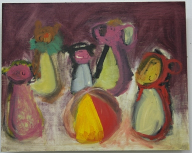 'Orchestra (ring a ring o' roses)' 2014 30cm x 37cm Oil paint on board SOLD