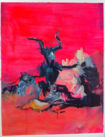 'I awoke one morning to find him entirely changed (Goya's witches)' 37cm x 29cm Oil paint and acrylic paint on paper