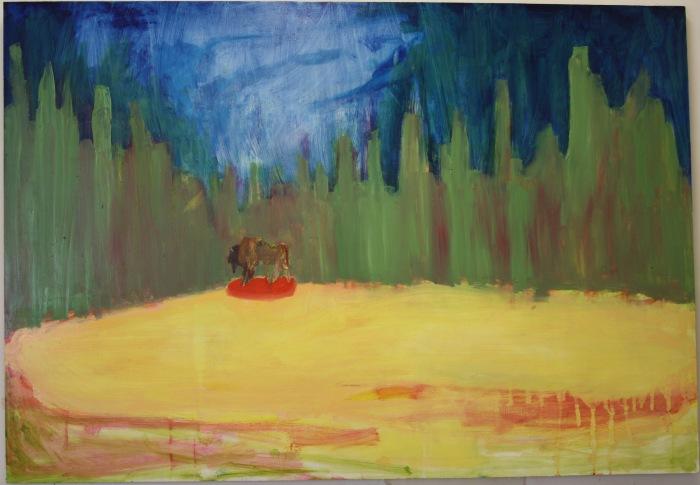 Oil paint on board, 69cm by 100cm