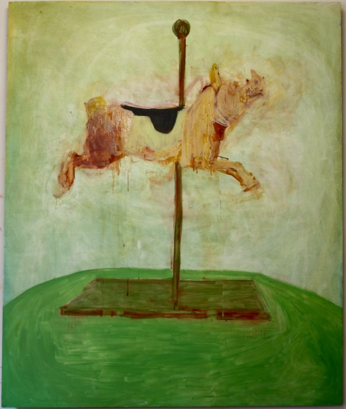 'Practising flying', Oil paint on board, 120cm by 100cm